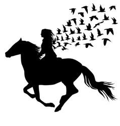 abstract of woman riding a horse and birds vector image vector image
