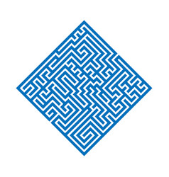 blue rhombus maze labyrinth flat vector image