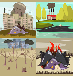 man-made disasters orthogonal icons vector image