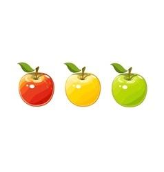 Ripe juicy apple set of vector image vector image