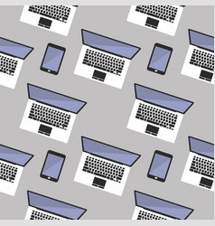 seamless background with laptop computer vector image vector image