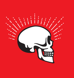 Skull side view with halo line graphic effect vector