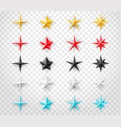 stars set of different colors isolated on vector image