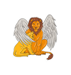 winged lion with cub under its wing drawing vector image vector image