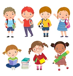 Back to school Set of school kids in education vector image vector image