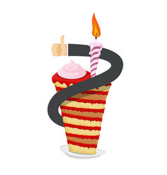birthday piece of cake hand thumb up great sweets vector image vector image