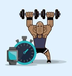 bodybuilder fitness weight dumbbell chronometer vector image