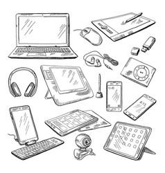 different computer gadgets doodle vector image