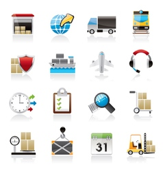 Logistic cargo and transportation icons vector image