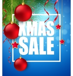 Xmas sale poster with cristmas decoration vector