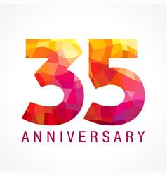 35 anniversary red logo vector image