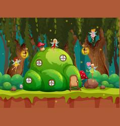 A fairytale forest scene vector