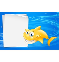 A yellow fish beside an empty paper vector image