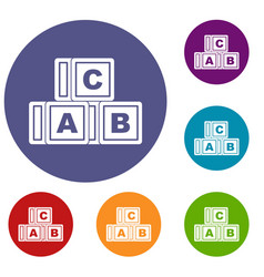 Abc cubes icons set vector