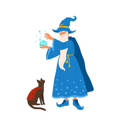 aged gray haired mage conjure with magic ball vector image