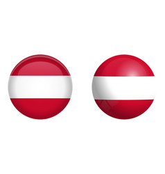austrian flag under 3d dome button and on glossy vector image
