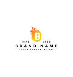 B letter logo fire design vector