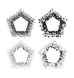 black color pentagon frames isolated on white vector image
