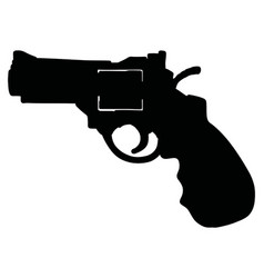 Black silhouette a heavy short revolver vector