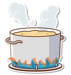 Boiling soup in a pot on stove sticker vector