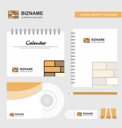 Bricks wall logo calendar template cd cover diary vector