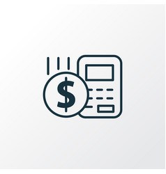 Budget calculator icon line symbol premium vector