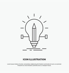 bulb creative solution light pencil icon line vector image