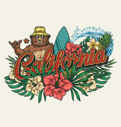 California surfing vintage colorful emblem vector