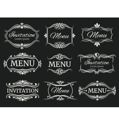 Calligraphic decorative frames for menu and vector