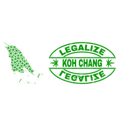 Cannabis leaves collage koh chang map with vector