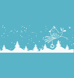 cartoon banner for holiday theme with bird on vector image