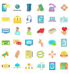 Client support icons set cartoon style vector