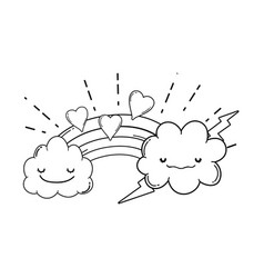 clouds and rainbow cute cartoon in black and white vector image
