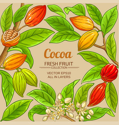Cocoa branches frame on color background vector