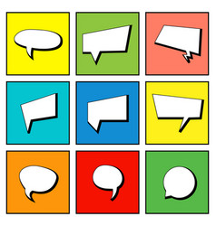 Collection comic speech bubbles in flat design vector
