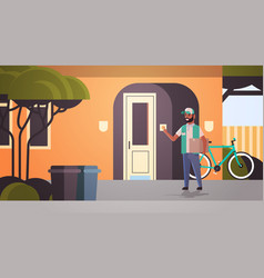 courier man delivering cardboard parcel ringing vector image