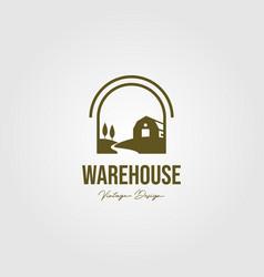 creek and barn logo design vintage warehouse logo vector image