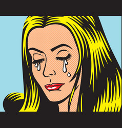 crying girl in pop art style vector image