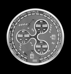 Crypto currency ripple silver symbol vector
