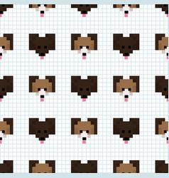 Cute cartoon 8bit black dog seamless vector