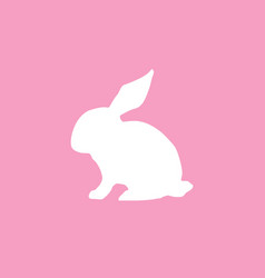 cute flat icon with white silhouette of rabbit or vector image