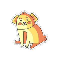 Cute funny puppy colorful cloth patch applique vector
