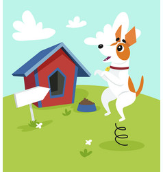Cute jack russell terrier dog jumping on vector