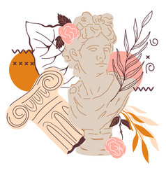 Decorative image with statue greek apollo god vector