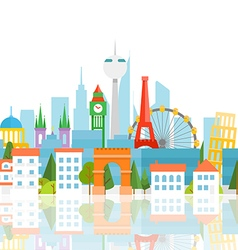 Dirrefent world famous sights Vacation travelling vector