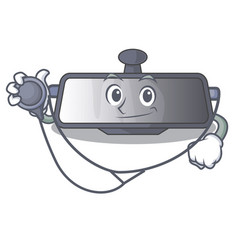 doctor rear view mirror isolated with mascot vector image