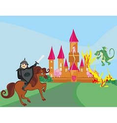 Dragon attacks the castle vector