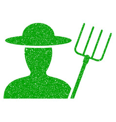 Farmer with pitchfork icon grunge watermark vector