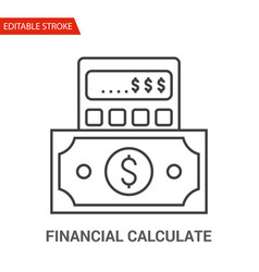 financial calculate icon thin line vector image