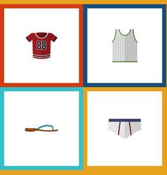 Flat icon garment set of beach sandal t-shirt vector